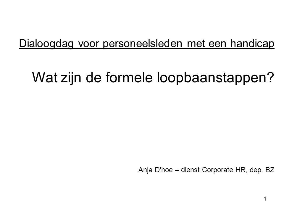 1 Dialoogdag voor personeelsleden met een handicap Wat zijn de formele loopbaanstappen? Anja D'hoe – dienst Corporate HR, dep. BZ
