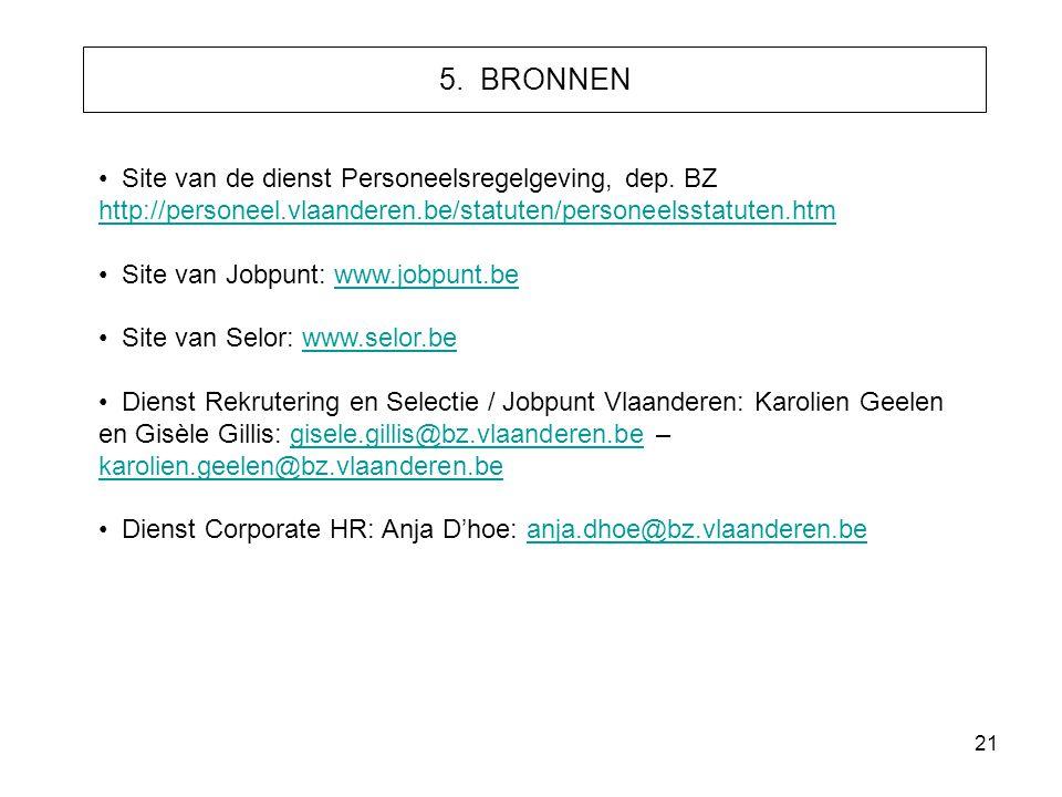 21 5. BRONNEN • Site van de dienst Personeelsregelgeving, dep. BZ http://personeel.vlaanderen.be/statuten/personeelsstatuten.htm http://personeel.vlaa