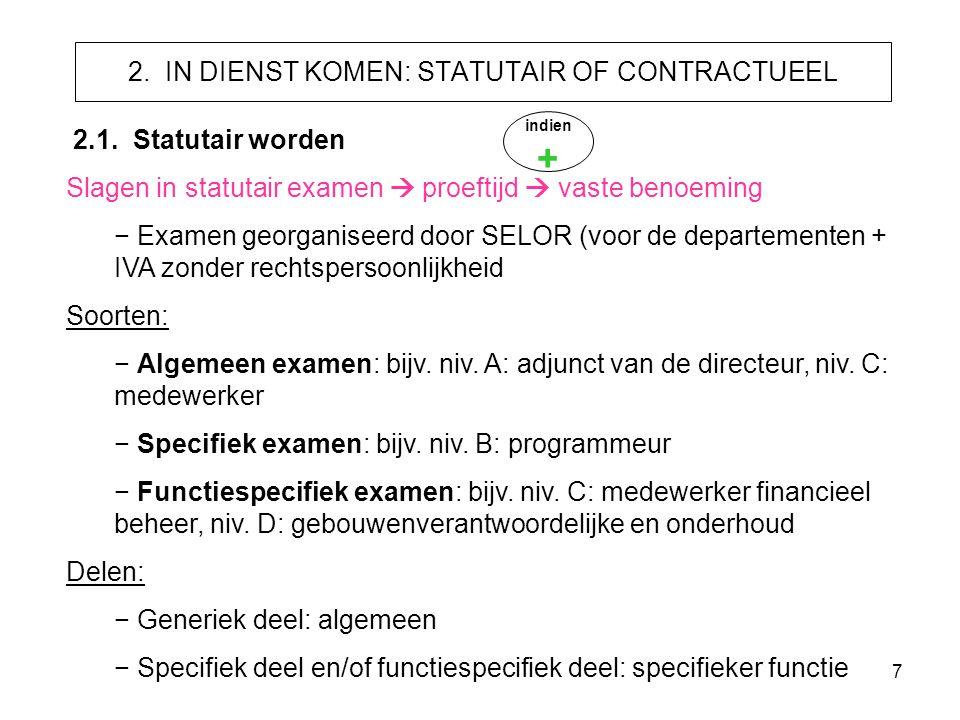 7 2. IN DIENST KOMEN: STATUTAIR OF CONTRACTUEEL 2.1. Statutair worden Slagen in statutair examen  proeftijd  vaste benoeming − Examen georganiseerd
