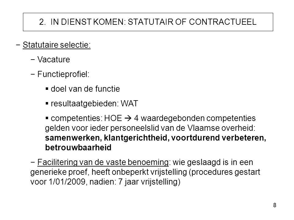 8 2. IN DIENST KOMEN: STATUTAIR OF CONTRACTUEEL − Statutaire selectie: − Vacature − Functieprofiel:  doel van de functie  resultaatgebieden: WAT  c