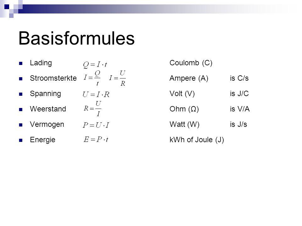 Basisformules  LadingCoulomb (C)  Stroomsterkte Ampere (A)is C/s  SpanningVolt (V)is J/C  WeerstandOhm (Ω)is V/A  VermogenWatt (W)is J/s  Energi