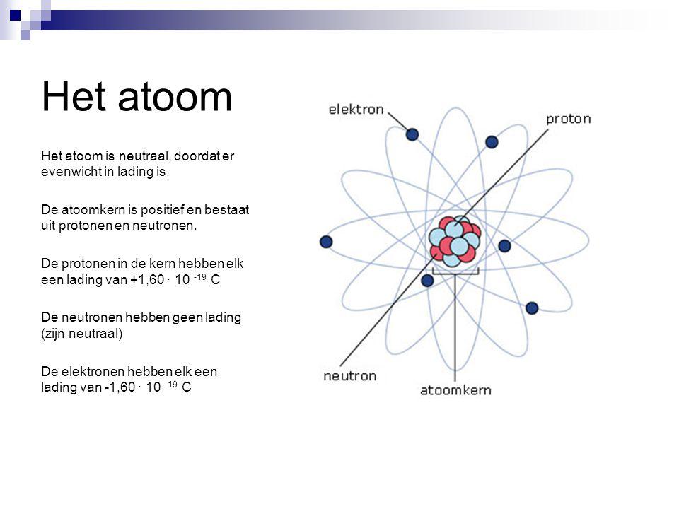 Het atoom Het atoom is neutraal, doordat er evenwicht in lading is. De atoomkern is positief en bestaat uit protonen en neutronen. De protonen in de k