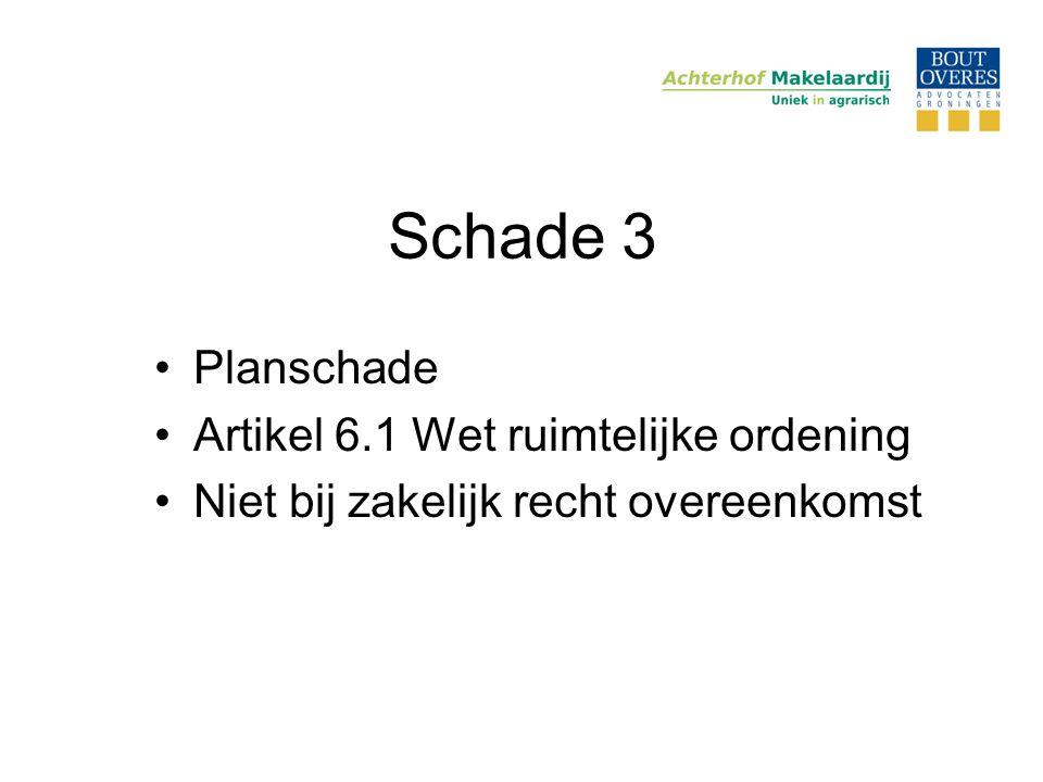 Schade 3 •Planschade •Artikel 6.1 Wet ruimtelijke ordening •Niet bij zakelijk recht overeenkomst