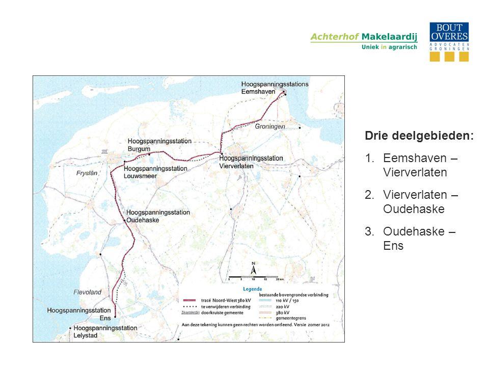 Drie deelgebieden: 1.Eemshaven – Vierverlaten 2.Vierverlaten – Oudehaske 3.Oudehaske – Ens