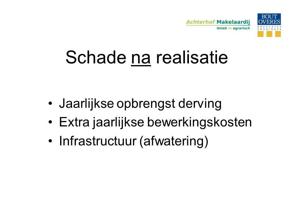 Schade na realisatie •Jaarlijkse opbrengst derving •Extra jaarlijkse bewerkingskosten •Infrastructuur (afwatering)
