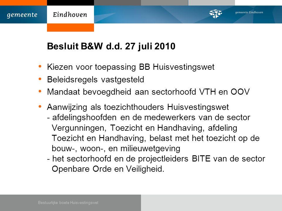 Besluit B&W d.d.