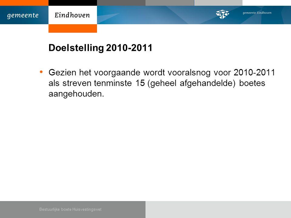Doelstelling 2010-2011 • Gezien het voorgaande wordt vooralsnog voor 2010-2011 als streven tenminste 15 (geheel afgehandelde) boetes aangehouden.
