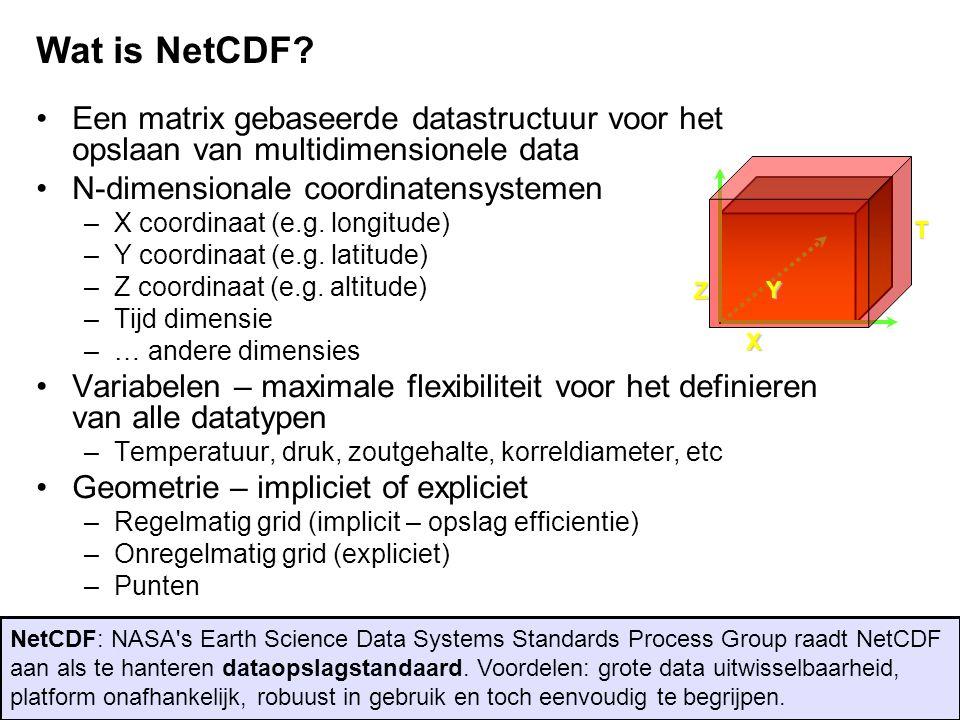 X Z T Y •Een matrix gebaseerde datastructuur voor het opslaan van multidimensionele data •N-dimensionale coordinatensystemen –X coordinaat (e.g. longi