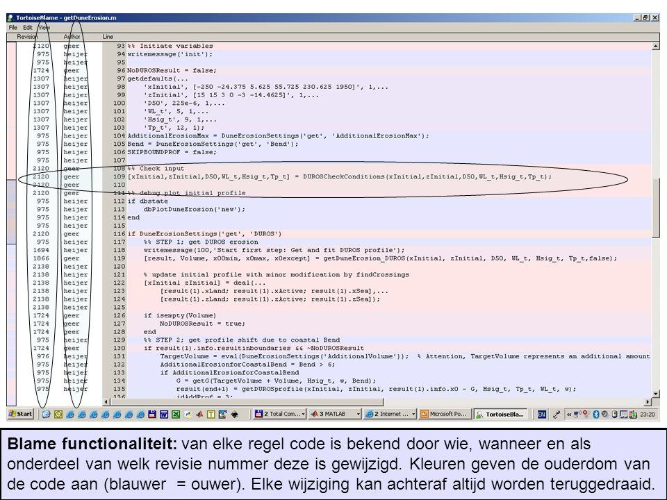 Blame functionaliteit: van elke regel code is bekend door wie, wanneer en als onderdeel van welk revisie nummer deze is gewijzigd. Kleuren geven de ou