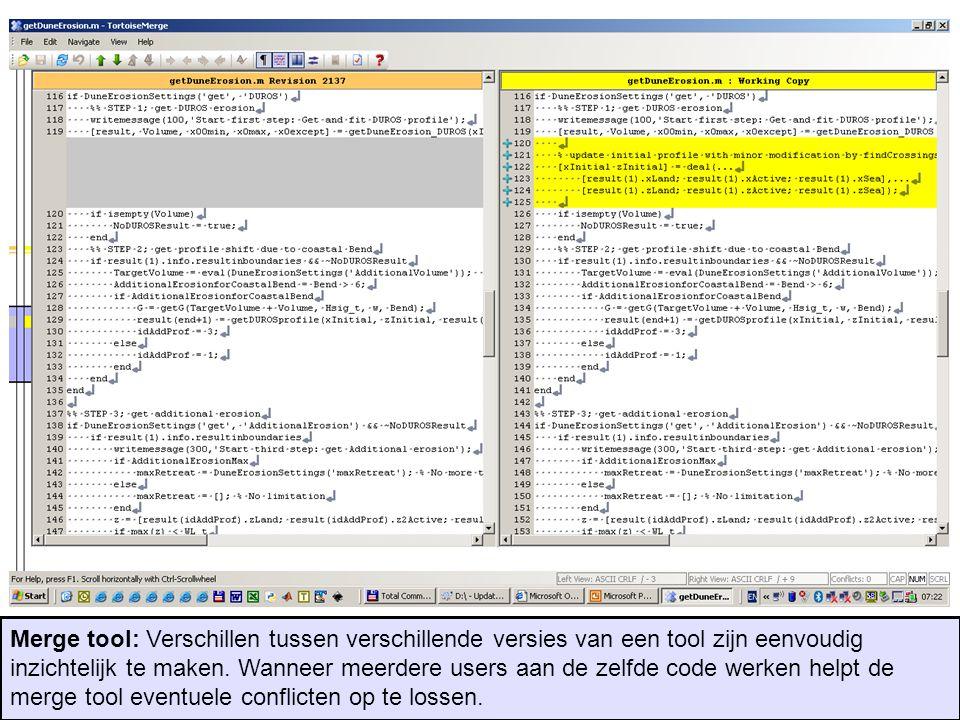 Merge tool: Verschillen tussen verschillende versies van een tool zijn eenvoudig inzichtelijk te maken. Wanneer meerdere users aan de zelfde code werk