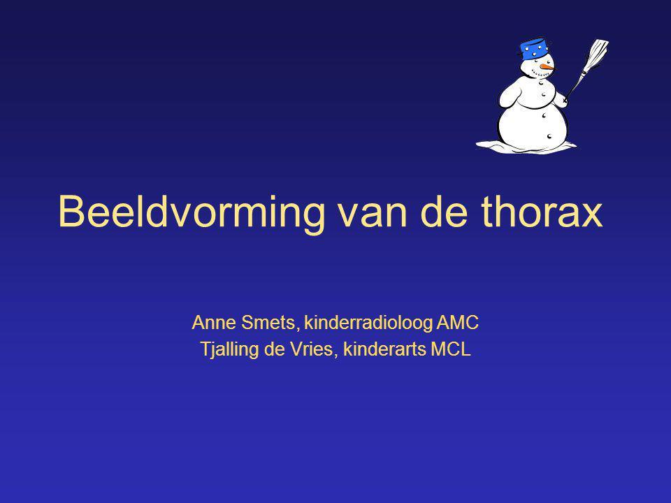 Beeldvorming van de thorax Anne Smets, kinderradioloog AMC Tjalling de Vries, kinderarts MCL
