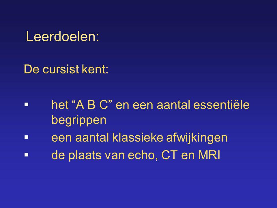 """Leerdoelen: De cursist kent:  het """"A B C"""" en een aantal essentiële begrippen  een aantal klassieke afwijkingen  de plaats van echo, CT en MRI"""