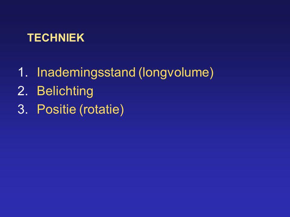 TECHNIEK 1.Inademingsstand (longvolume) 2.Belichting 3.Positie (rotatie)