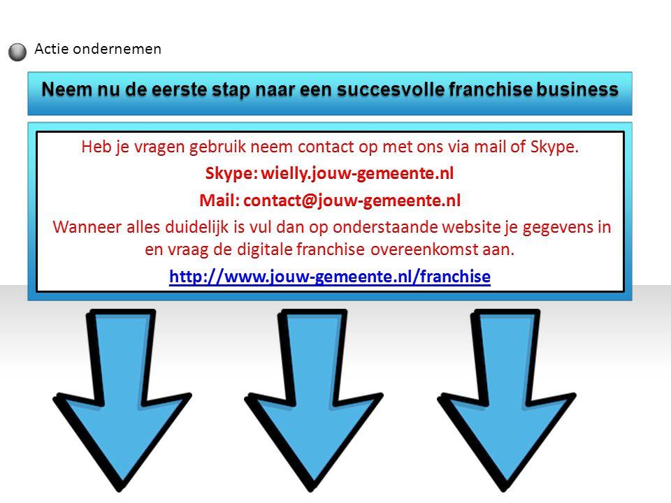Actie ondernemen Neem nu de eerste stap naar een succesvolle franchise business