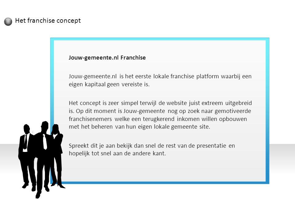Het franchise concept Jouw-gemeente.nl Franchise Jouw-gemeente.nl is het eerste lokale franchise platform waarbij een eigen kapitaal geen vereiste is.