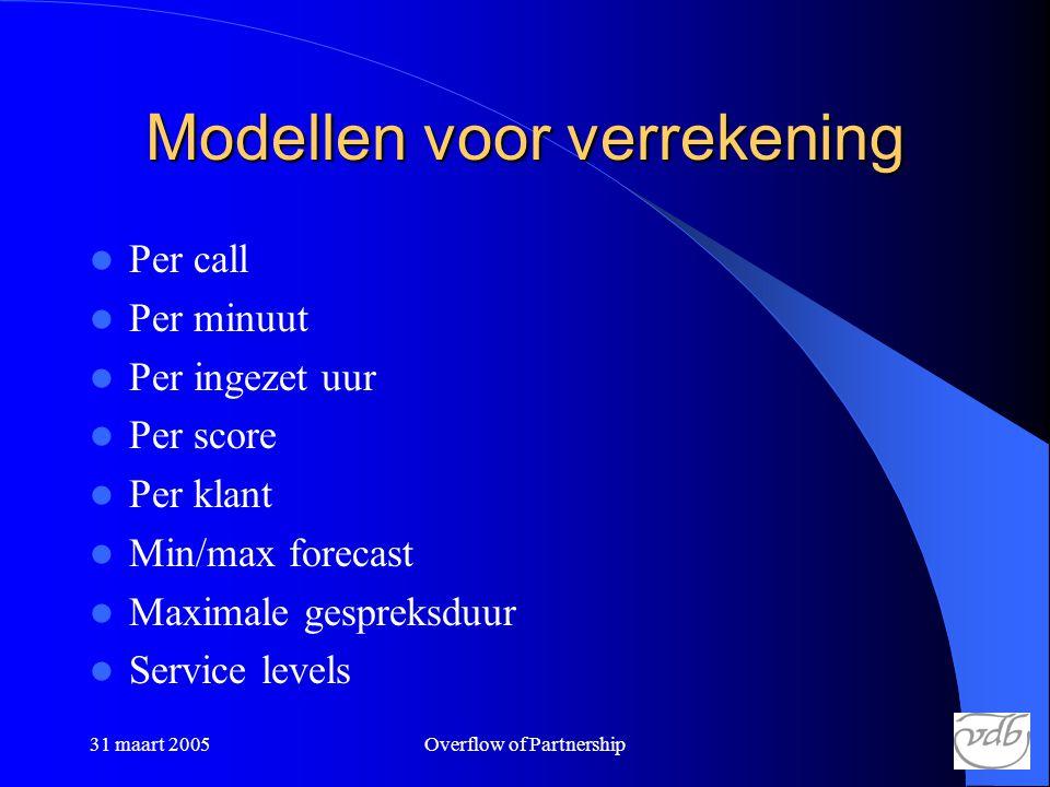 31 maart 2005Overflow of Partnership Modellen voor verrekening  Per call  Per minuut  Per ingezet uur  Per score  Per klant  Min/max forecast  Maximale gespreksduur  Service levels
