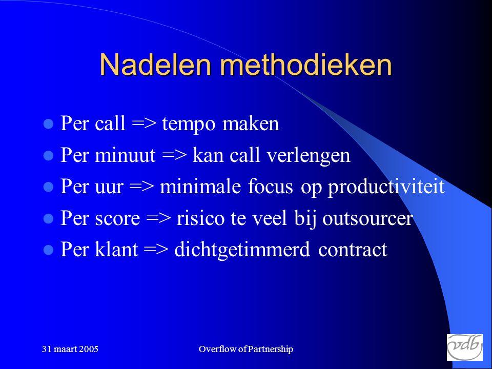 31 maart 2005Overflow of Partnership Nadelen methodieken  Per call => tempo maken  Per minuut => kan call verlengen  Per uur => minimale focus op productiviteit  Per score => risico te veel bij outsourcer  Per klant => dichtgetimmerd contract