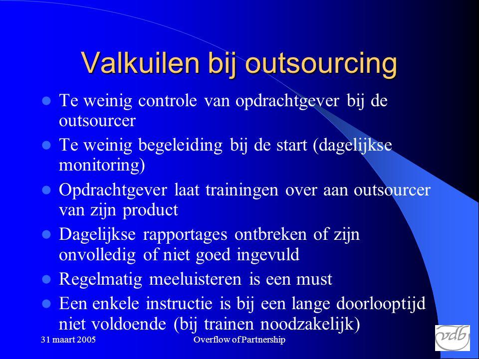 31 maart 2005Overflow of Partnership Valkuilen bij outsourcing  Te weinig controle van opdrachtgever bij de outsourcer  Te weinig begeleiding bij de