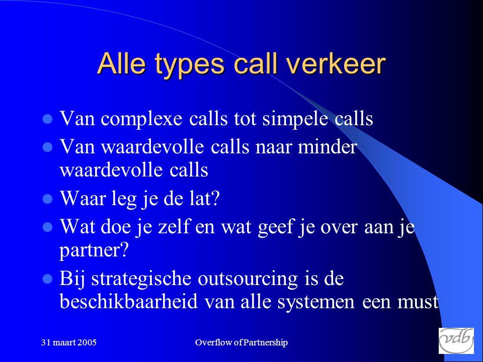 31 maart 2005Overflow of Partnership Alle types call verkeer  Van complexe calls tot simpele calls  Van waardevolle calls naar minder waardevolle calls  Waar leg je de lat.