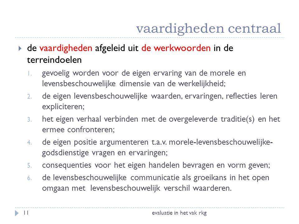 evaluatie in het vak rkg11  de vaardigheden afgeleid uit de werkwoorden in de terreindoelen 1. gevoelig worden voor de eigen ervaring van de morele e