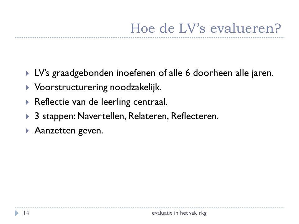Hoe de LV's evalueren? evaluatie in het vak rkg14  LV's graadgebonden inoefenen of alle 6 doorheen alle jaren.  Voorstructurering noodzakelijk.  Re