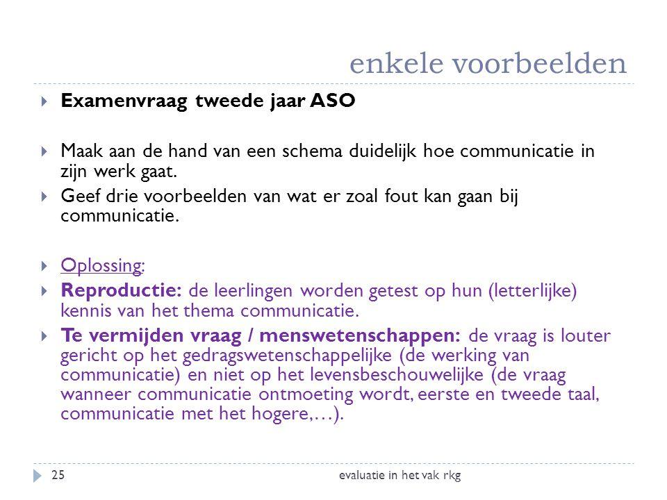 enkele voorbeelden evaluatie in het vak rkg25  Examenvraag tweede jaar ASO  Maak aan de hand van een schema duidelijk hoe communicatie in zijn werk