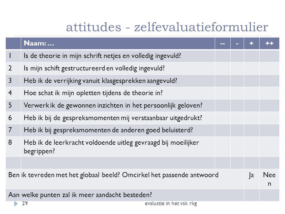 attitudes - zelfevaluatieformulier evaluatie in het vak rkg29 Naam: …---+++ 1Is de theorie in mijn schrift netjes en volledig ingevuld? 2Is mijn schif