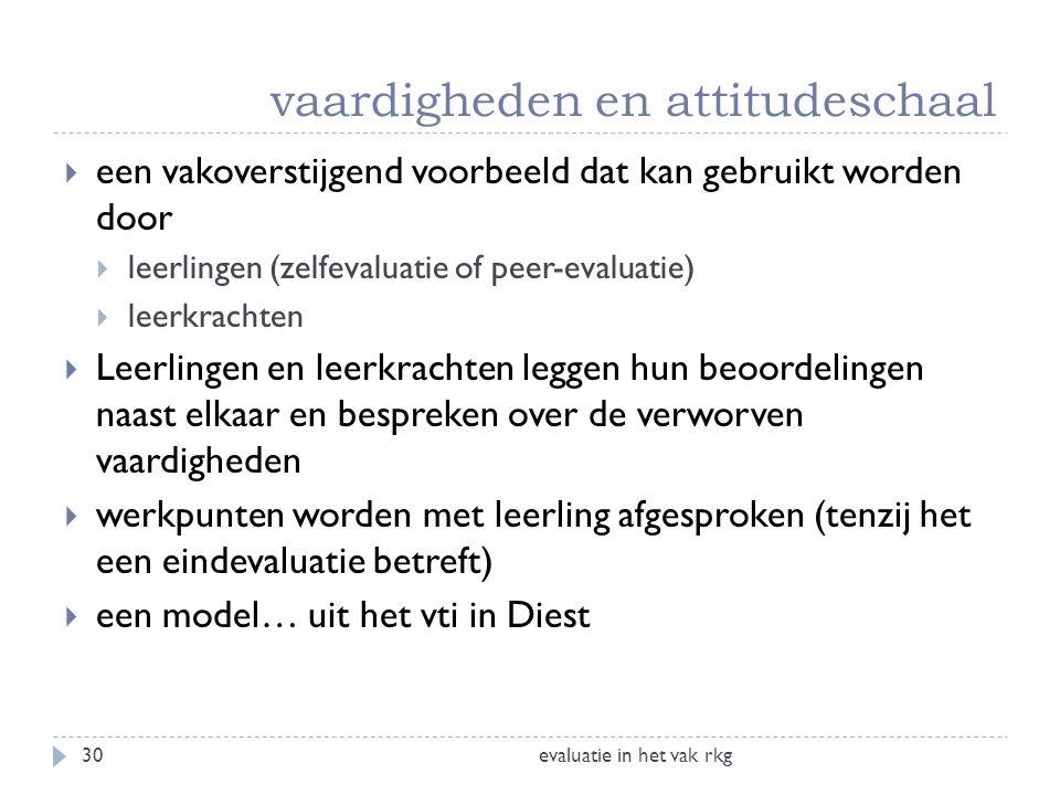 vaardigheden en attitudeschaal evaluatie in het vak rkg30  een vakoverstijgend voorbeeld dat kan gebruikt worden door  leerlingen (zelfevaluatie of