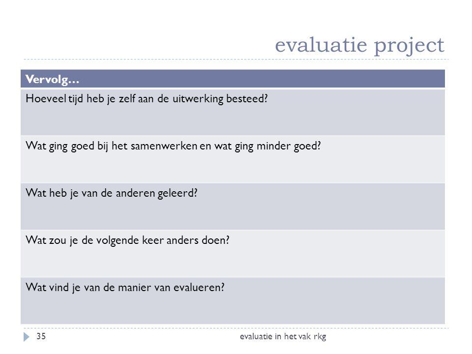 evaluatie project evaluatie in het vak rkg35 Vervolg… Hoeveel tijd heb je zelf aan de uitwerking besteed? Wat ging goed bij het samenwerken en wat gin