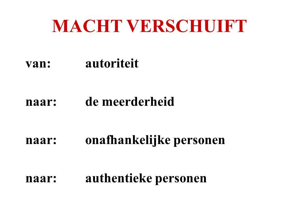 MACHT VERSCHUIFT van: autoriteit naar: de meerderheid naar: onafhankelijke personen naar: authentieke personen