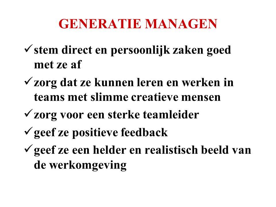 GENERATIE MANAGEN  stem direct en persoonlijk zaken goed met ze af  zorg dat ze kunnen leren en werken in teams met slimme creatieve mensen  zorg voor een sterke teamleider  geef ze positieve feedback  geef ze een helder en realistisch beeld van de werkomgeving