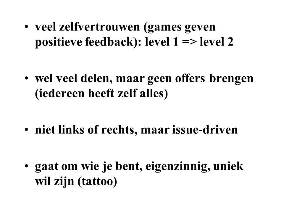 •veel zelfvertrouwen (games geven positieve feedback): level 1 => level 2 •wel veel delen, maar geen offers brengen (iedereen heeft zelf alles) •niet links of rechts, maar issue-driven •gaat om wie je bent, eigenzinnig, uniek wil zijn (tattoo)