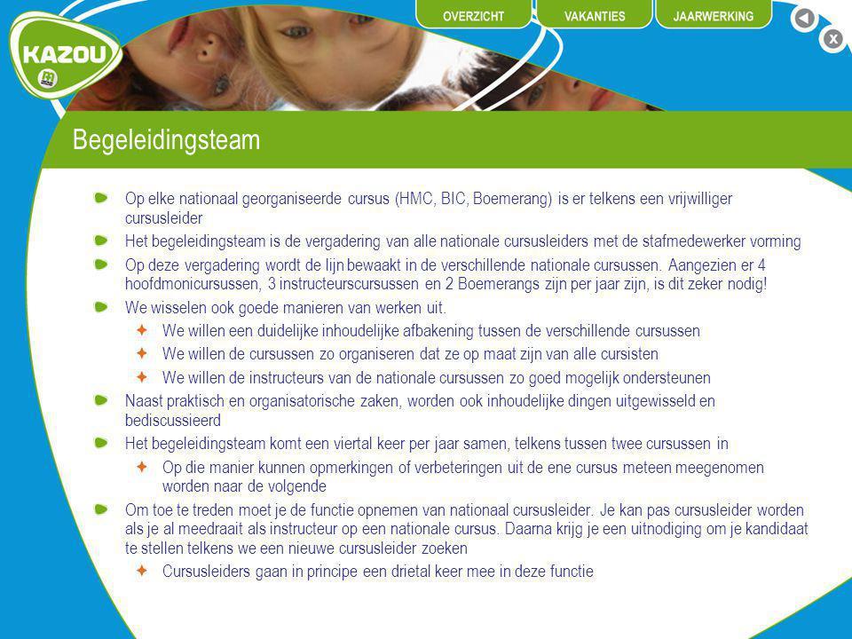 Begeleidingsteam Op elke nationaal georganiseerde cursus (HMC, BIC, Boemerang) is er telkens een vrijwilliger cursusleider Het begeleidingsteam is de