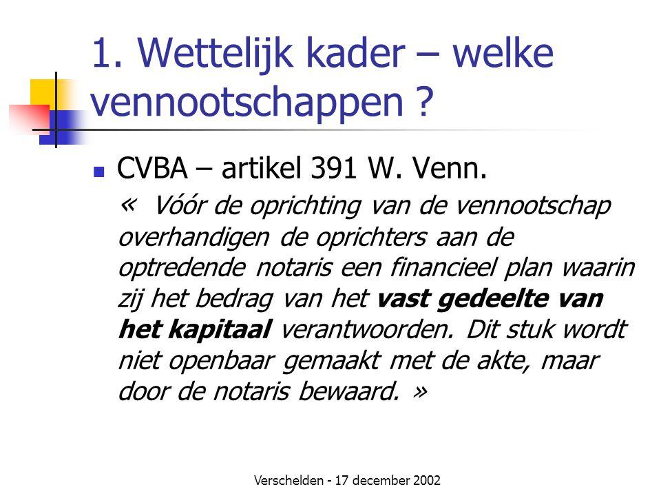 Verschelden - 17 december 2002 1. Wettelijk kader – welke vennootschappen ?  CVBA – artikel 391 W. Venn. « Vóór de oprichting van de vennootschap ove