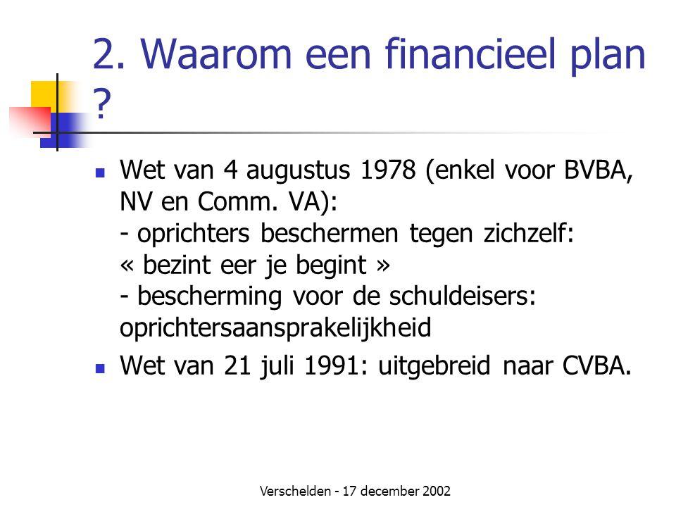 Verschelden - 17 december 2002 2. Waarom een financieel plan ?  Wet van 4 augustus 1978 (enkel voor BVBA, NV en Comm. VA): - oprichters beschermen te