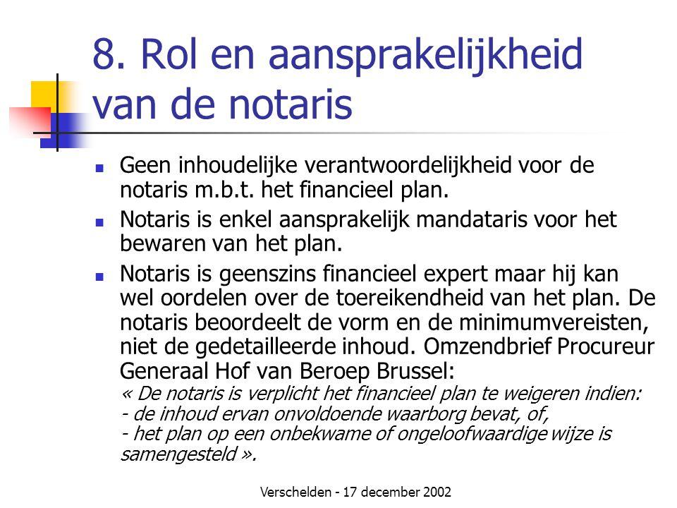 Verschelden - 17 december 2002 8. Rol en aansprakelijkheid van de notaris  Geen inhoudelijke verantwoordelijkheid voor de notaris m.b.t. het financie