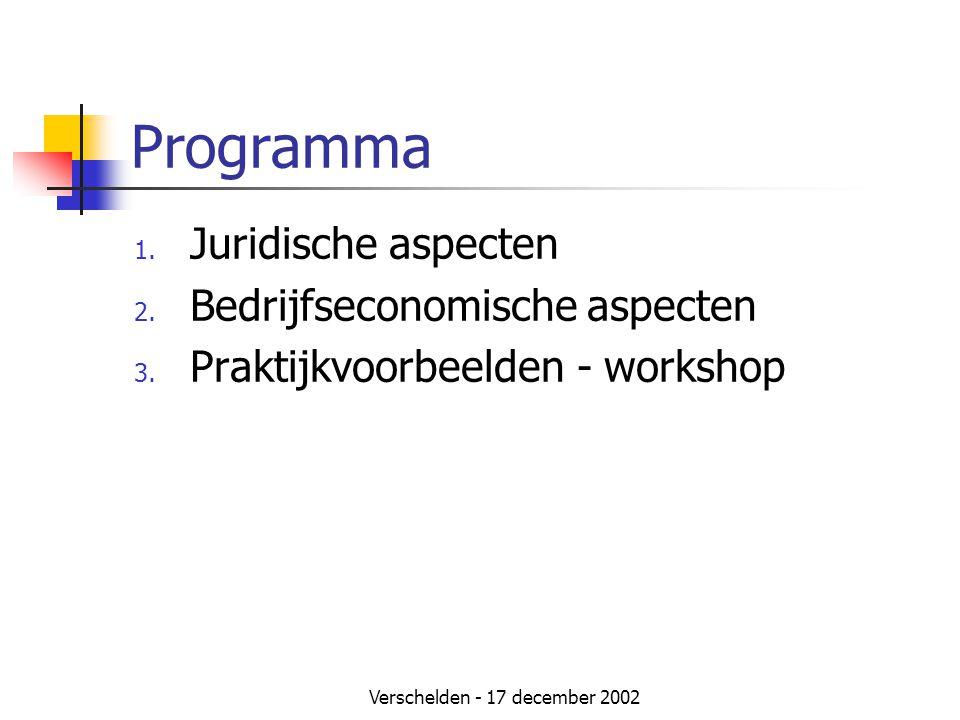 Verschelden - 17 december 2002 Programma 1. Juridische aspecten 2. Bedrijfseconomische aspecten 3. Praktijkvoorbeelden - workshop