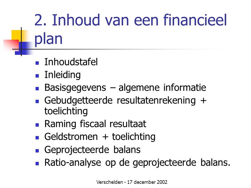 Verschelden - 17 december 2002 2. Inhoud van een financieel plan  Inhoudstafel  Inleiding  Basisgegevens – algemene informatie  Gebudgetteerde res