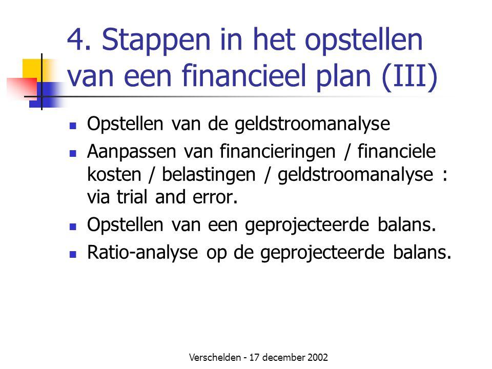Verschelden - 17 december 2002 4. Stappen in het opstellen van een financieel plan (III)  Opstellen van de geldstroomanalyse  Aanpassen van financie