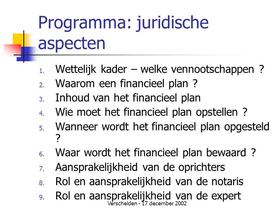 Verschelden - 17 december 2002 Programma: juridische aspecten 1. Wettelijk kader – welke vennootschappen ? 2. Waarom een financieel plan ? 3. Inhoud v