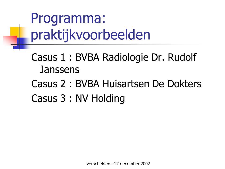 Verschelden - 17 december 2002 Programma: praktijkvoorbeelden Casus 1 : BVBA Radiologie Dr. Rudolf Janssens Casus 2 : BVBA Huisartsen De Dokters Casus