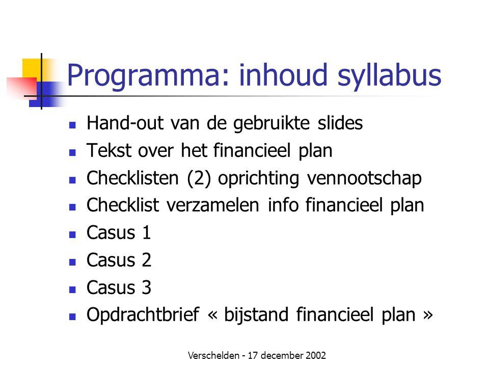 Verschelden - 17 december 2002 Programma: inhoud syllabus  Hand-out van de gebruikte slides  Tekst over het financieel plan  Checklisten (2) oprich