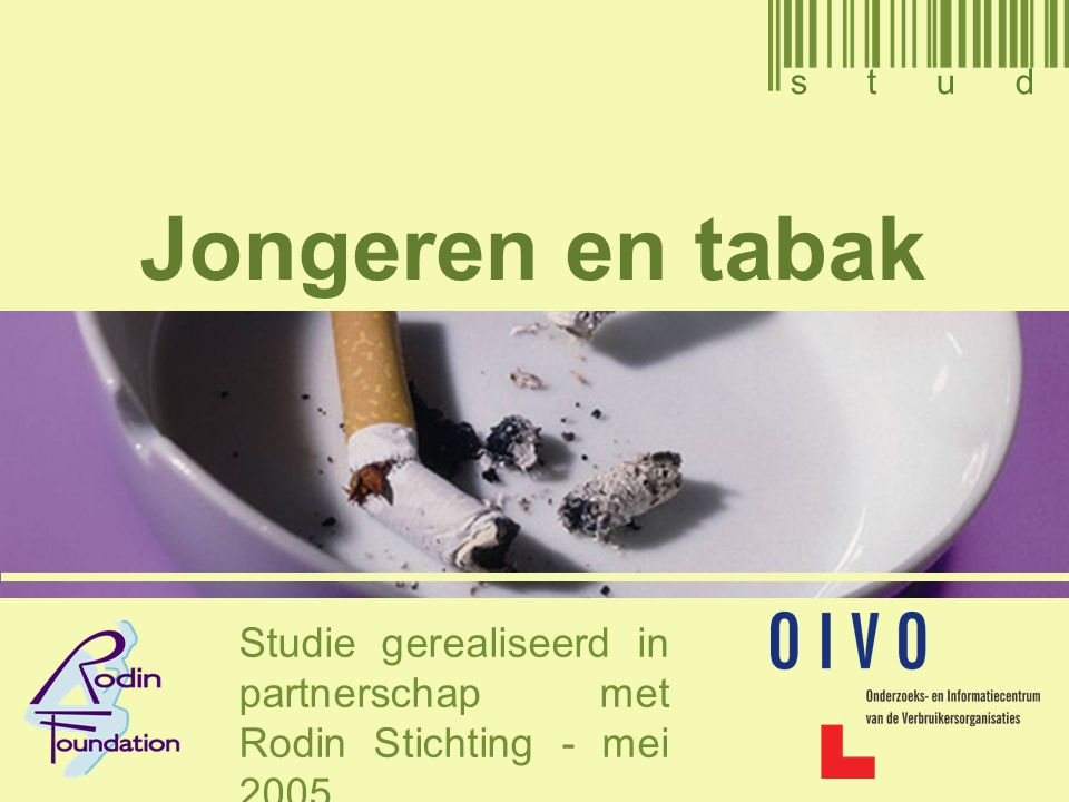 2 Inhoudstafel 1.Doelstellingen 2.Methodologie 3.Perceptie van tabak en van rokers bij de jongeren 4.De tabaksconsumptie (gewoonten, eerste sigaret, proberen, stoppen) 5.Het profiel van de tabaksconsumptie 6.Percepties en houdingen van ouders ten overstaan van tabak (informatie, instemming van ouders, consumptie, verslaafdheid aan tabak) 7.De omgeving van de jongere (vriendenkring, schoolmilieu, broers en zussen) 8.De verslaafdheid aan tabak bij jongeren (afhankelijkheid en verslaving) 9.Conclusies