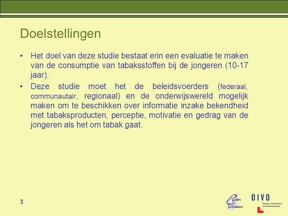 3 Doelstellingen •Het doel van deze studie bestaat erin een evaluatie te maken van de consumptie van tabaksstoffen bij de jongeren (10-17 jaar).