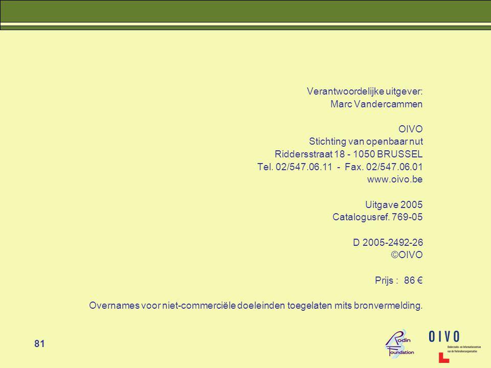 81 Verantwoordelijke uitgever: Marc Vandercammen OIVO Stichting van openbaar nut Riddersstraat 18 - 1050 BRUSSEL Tel.