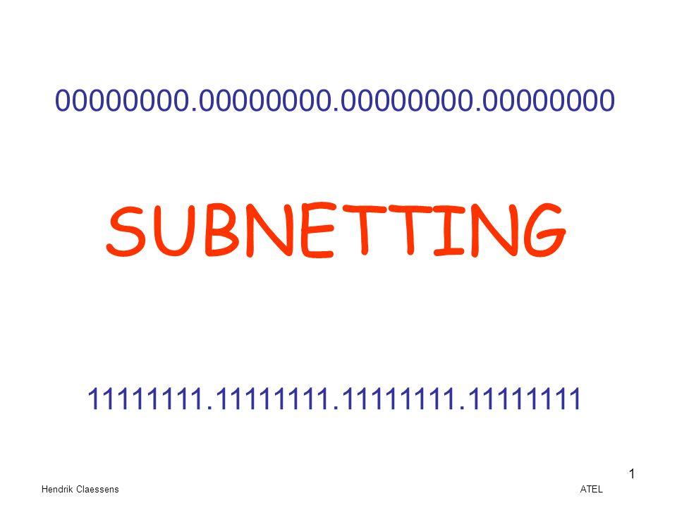 Hendrik Claessens ATEL 1 00000000.00000000.00000000.00000000 SUBNETTING 11111111.11111111.11111111.11111111