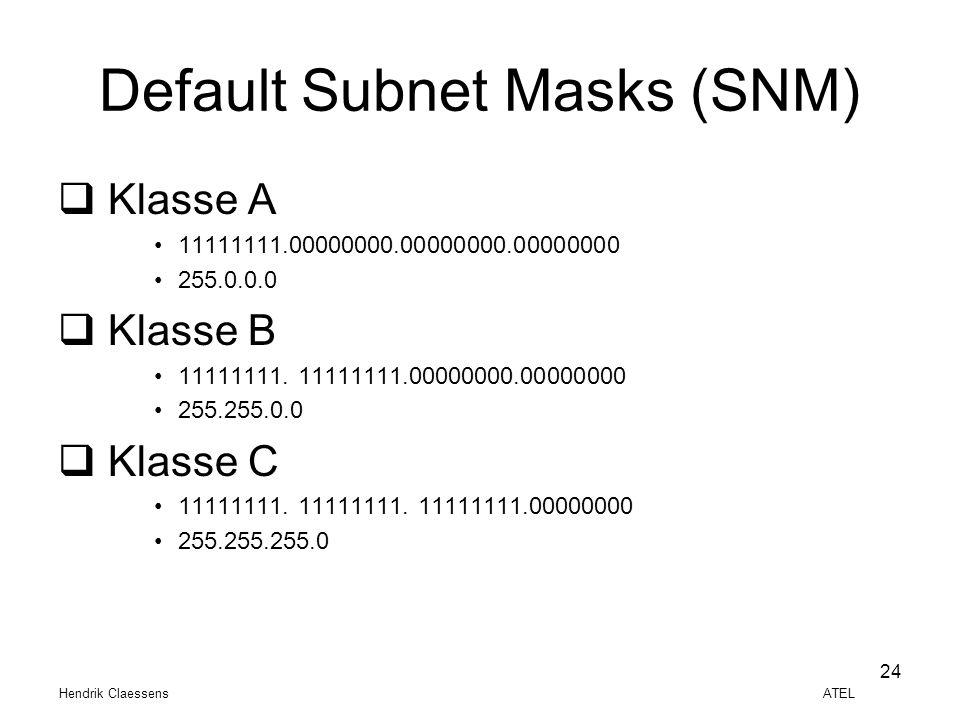 Hendrik Claessens ATEL 24 Default Subnet Masks (SNM)  Klasse A •11111111.00000000.00000000.00000000 •255.0.0.0  Klasse B •11111111. 11111111.0000000