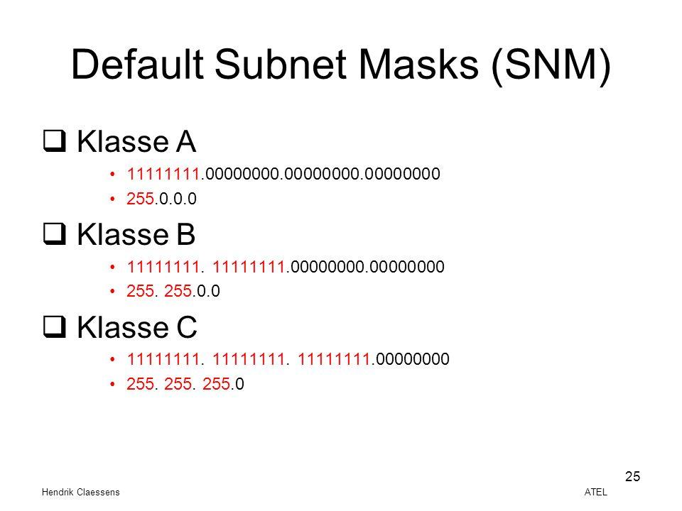Hendrik Claessens ATEL 25 Default Subnet Masks (SNM)  Klasse A •11111111.00000000.00000000.00000000 •255.0.0.0  Klasse B •11111111. 11111111.0000000