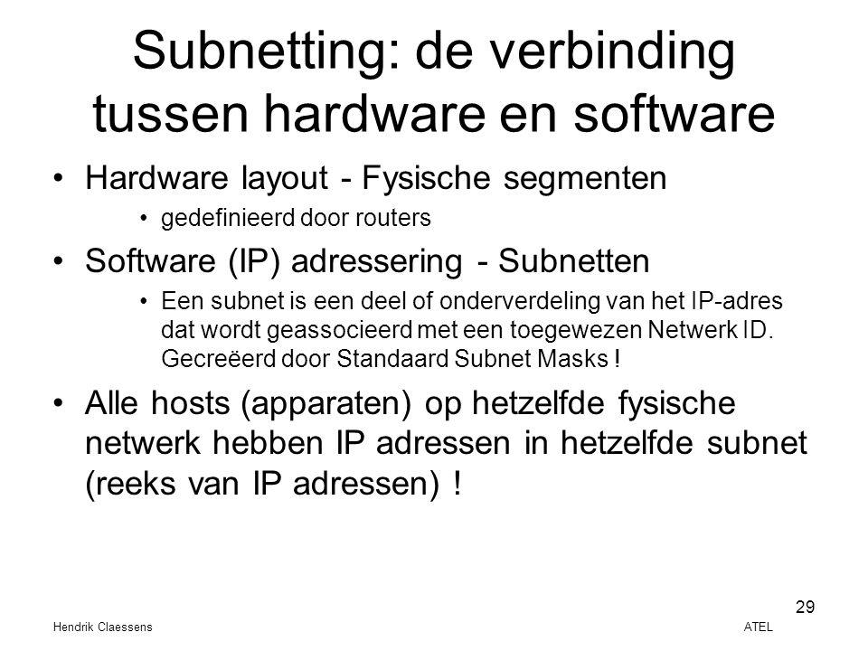 Hendrik Claessens ATEL 29 Subnetting: de verbinding tussen hardware en software •Hardware layout - Fysische segmenten •gedefinieerd door routers •Soft