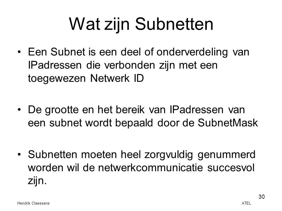 Hendrik Claessens ATEL 30 Wat zijn Subnetten •Een Subnet is een deel of onderverdeling van IPadressen die verbonden zijn met een toegewezen Netwerk ID